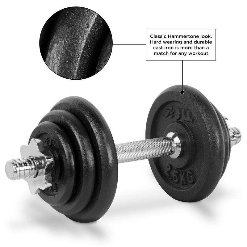 Jll Dumbbell Set: 20kg Cast Iron Dumbbell/Barbell Set