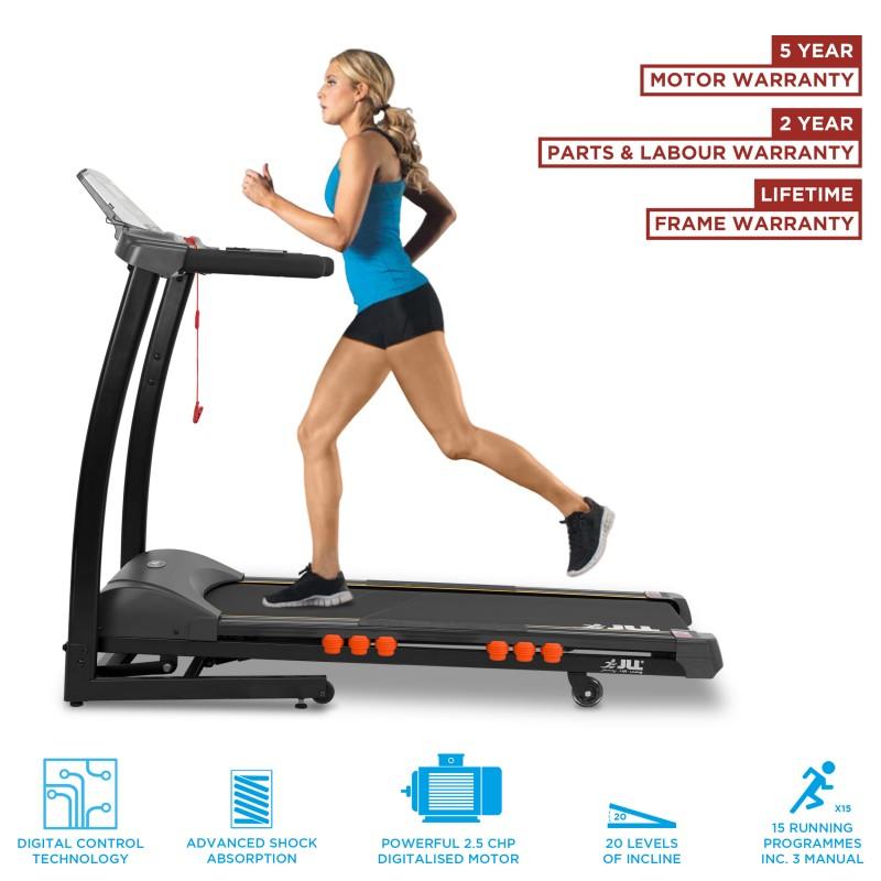 Jll s300 folding treadmill jll fitness for Treadmill 2 5 hp motor