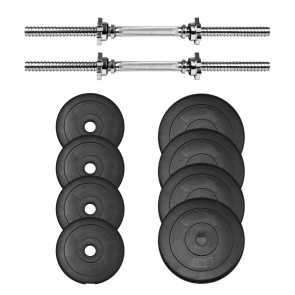 chrome bar dumbbell weight spin lock set plate rubber 20kg