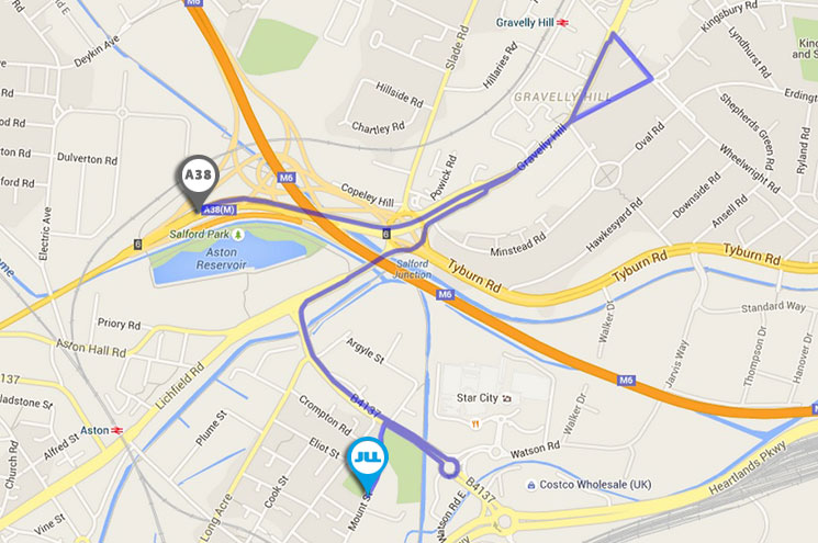 map by car from a38