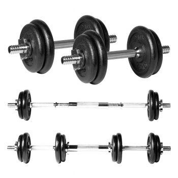 20kg Cast Iron Dumbbell/Barbell Set