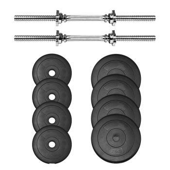 chrome bar dumbbell weight spin lock set plate rubber 20kg
